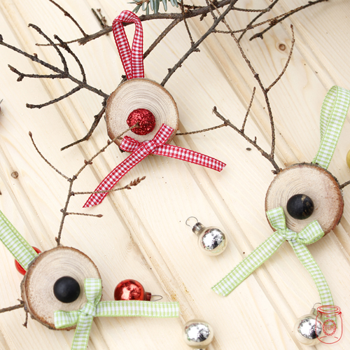 Wood slice reindeer ornaments for Wood slice craft projects